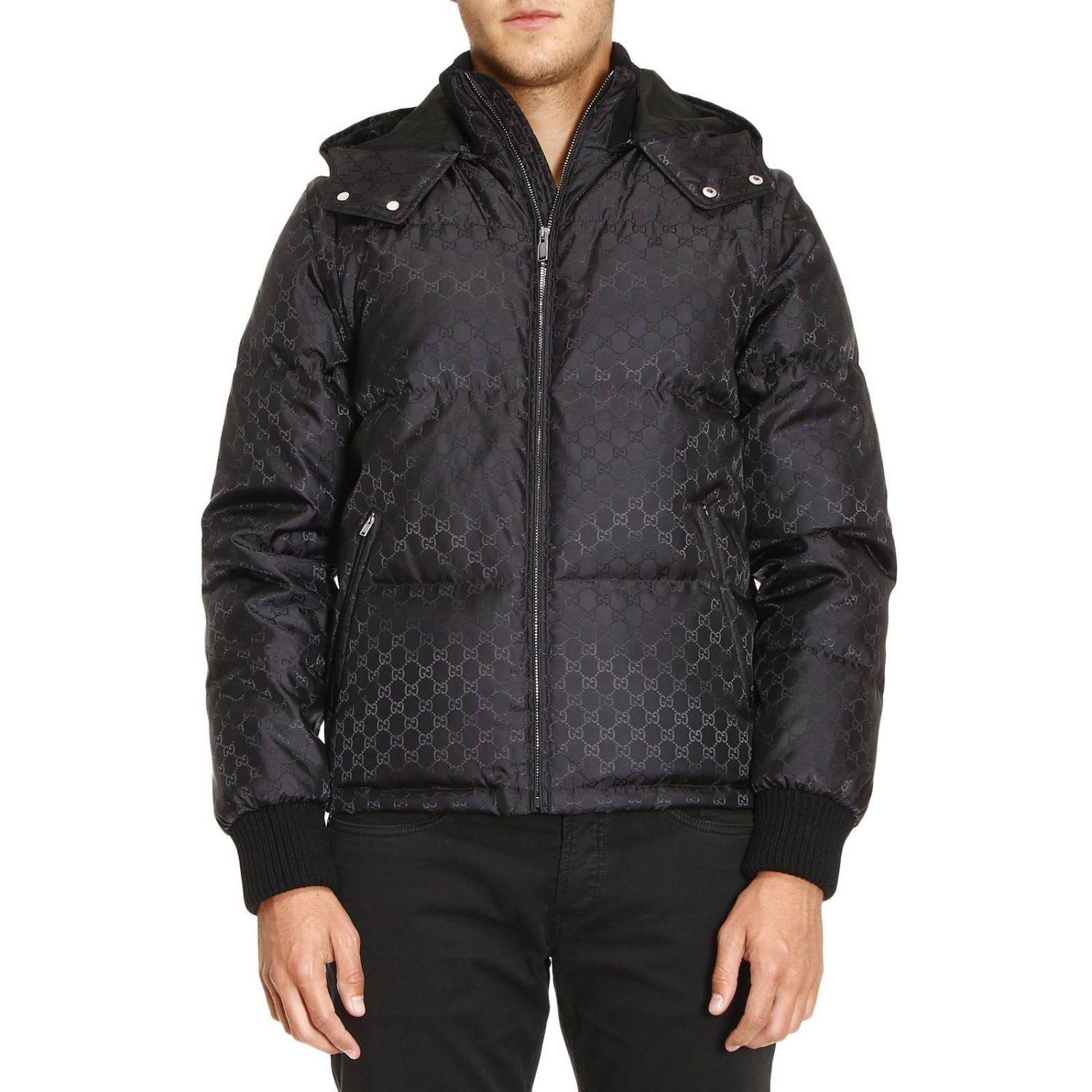 a4e398a61 Gucci Bomber Down Jacket With Removable Sleeves And Gg Monogram in ...