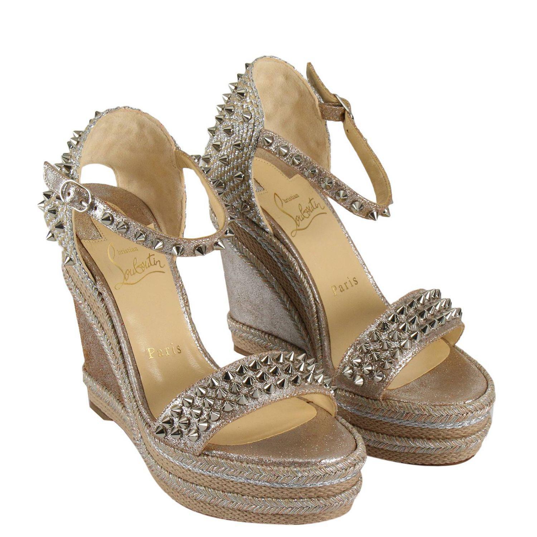 261f88adb11 ... real lyst christian louboutin wedge shoes shoes women in metallic ba09e  66cb5