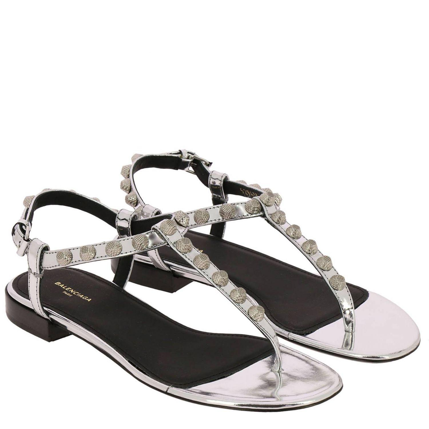 b4cc782bde02 Balenciaga - Metallic Flat Sandals Shoes Women - Lyst. View fullscreen