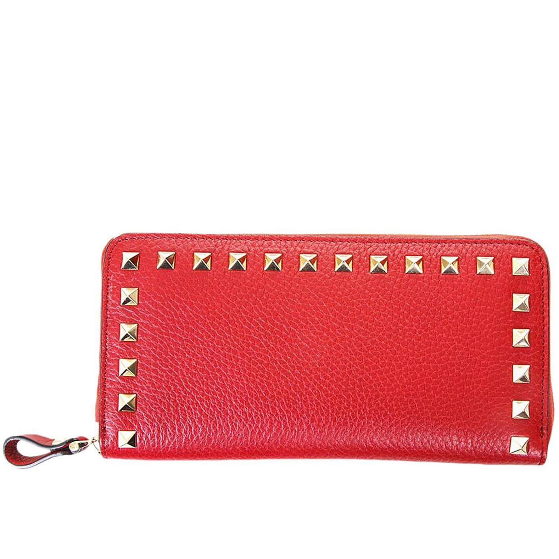 Rockstud Spike Zip Around Continental Wallet in Black Nappa Leather Valentino 7TSkDF