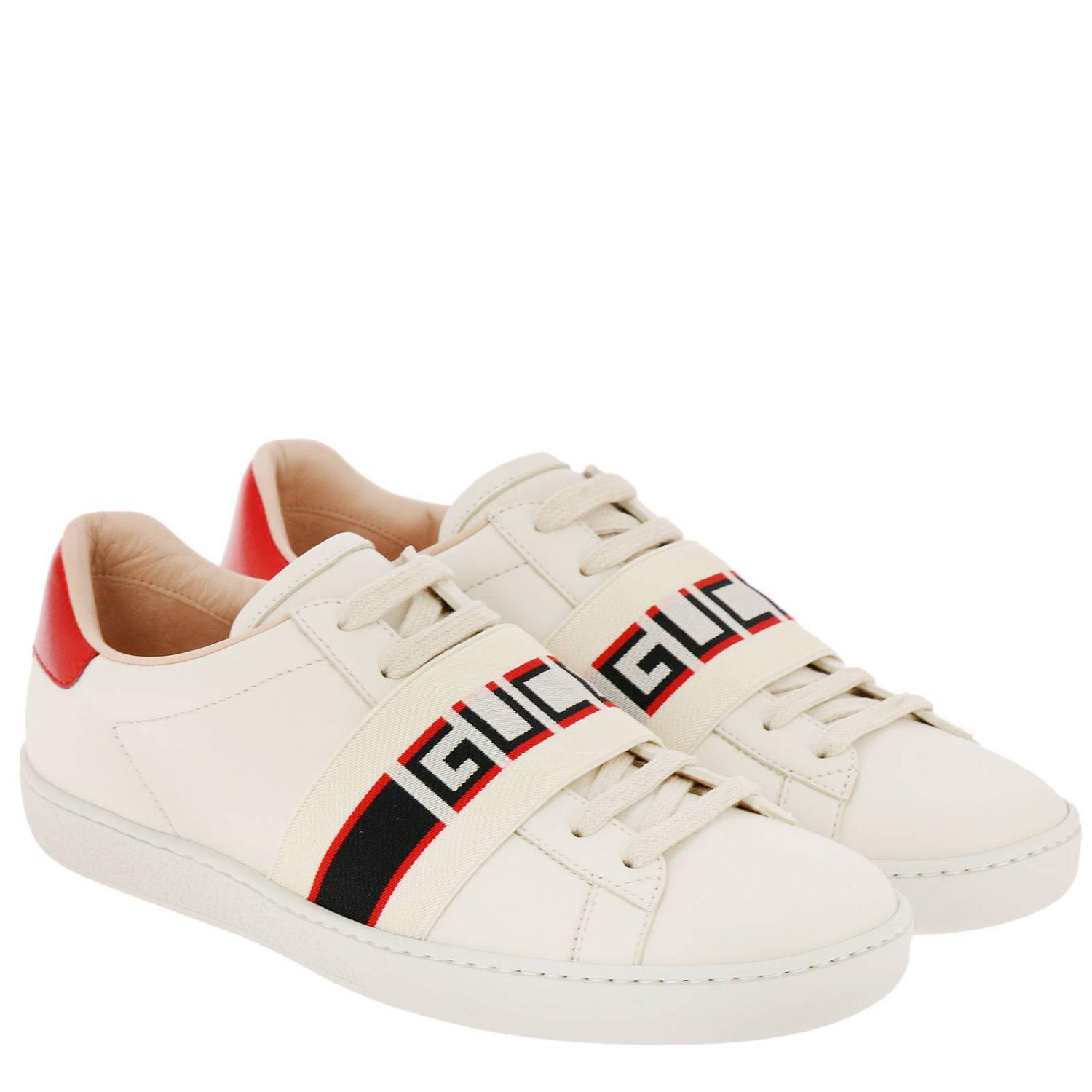 419efecd52c Lyst - Gucci New Ace Sneakers In Soft Leather With Elastic Band in White