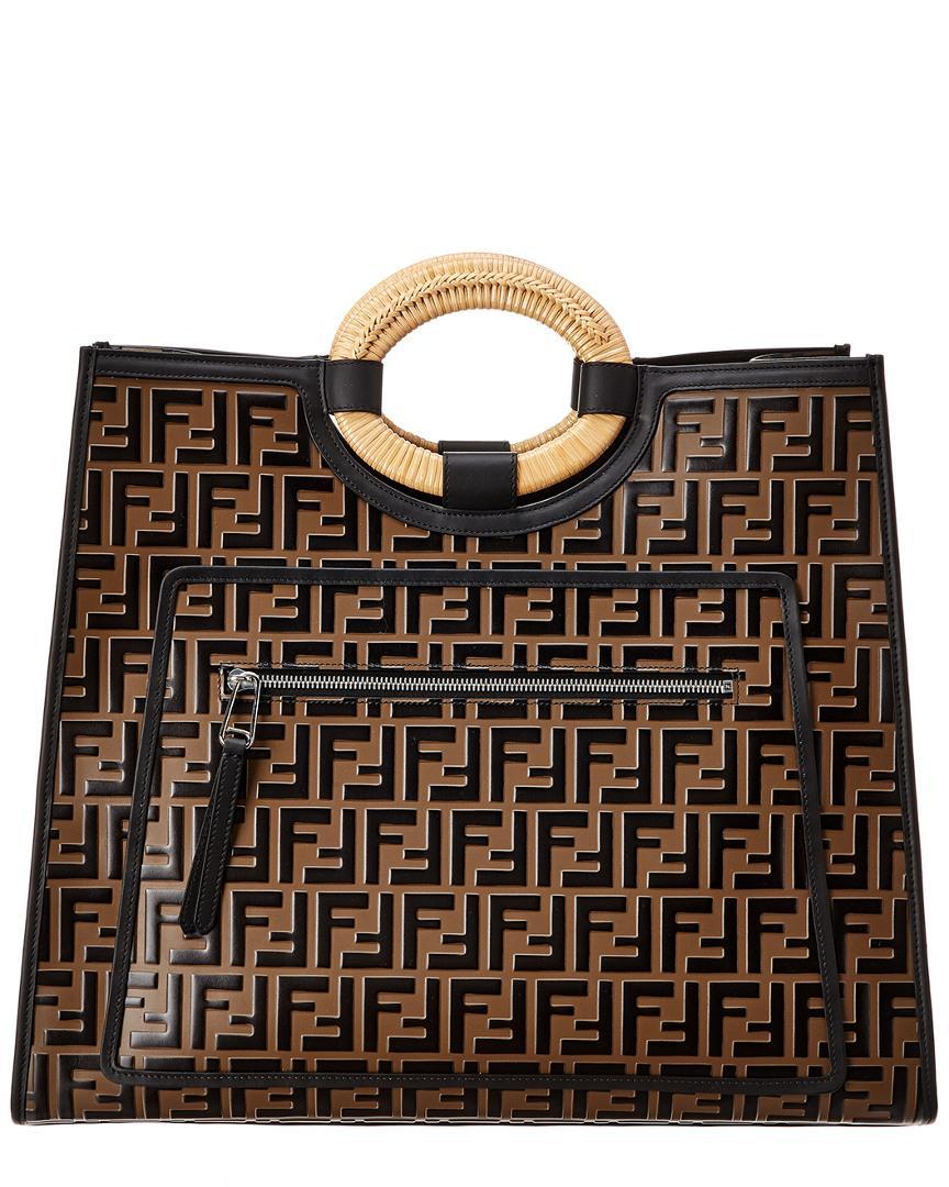 28df52e5 Lyst - Fendi Runaway Logo Printed Leather Shopper Tote