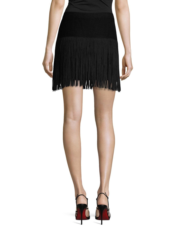 abae43cc4e531 Lyst - Ella Moss Cotton Fringe Hem Sweater Skirt in Black