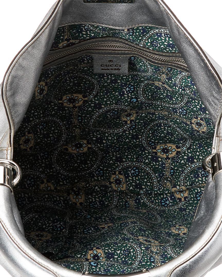 Gucci - Metallic Silver Leather Indy Hobo - Lyst. View fullscreen 72aa1acd45e32