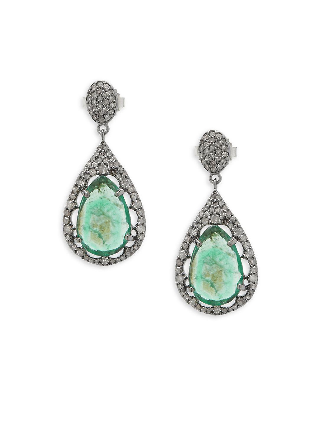 Bavna Chrysoprase Narrow Teardrop Earrings FKWUCJ