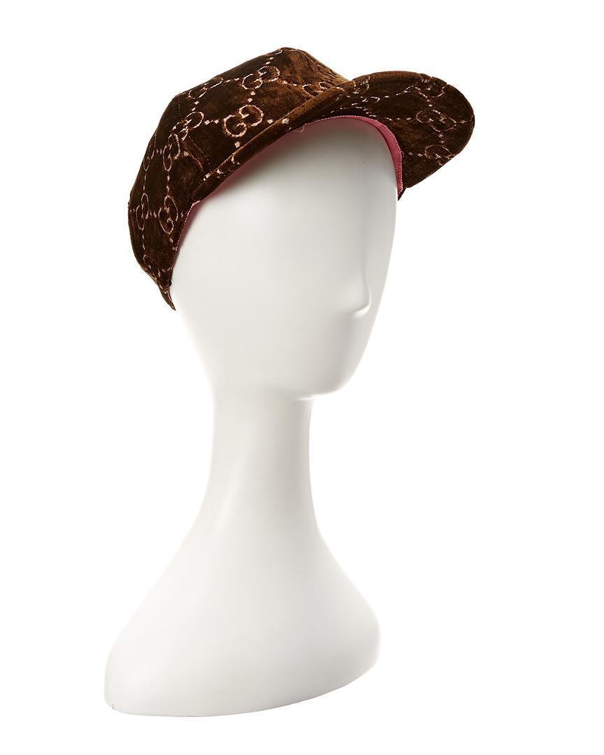 9712dbb9d7d Lyst - Gucci GG Motif Velvet Cap in Brown - Save 39%
