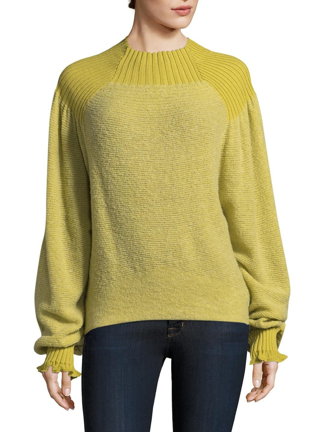 Free people Elderflower Ribbed Sweater in Yellow | Lyst