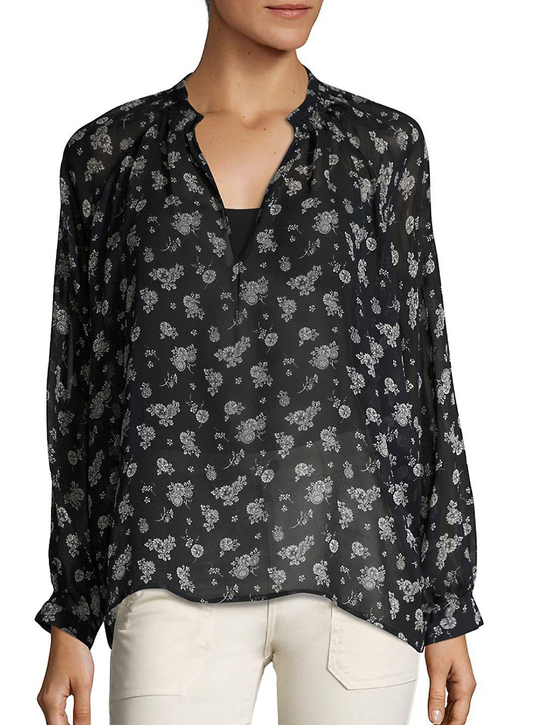 Floral-printed silk blouse Vince Clearance Cost Clearance Official Outlet Manchester Buy Cheap Cheapest kUb9J