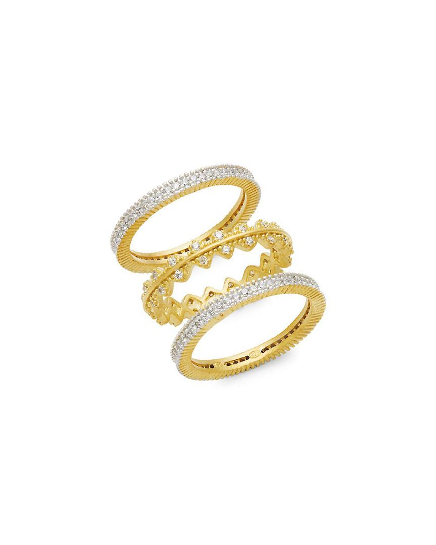 8a2a0635718fe Freida Rothman Harlequin Edge Goldtone Stacking Rings Trio in ...