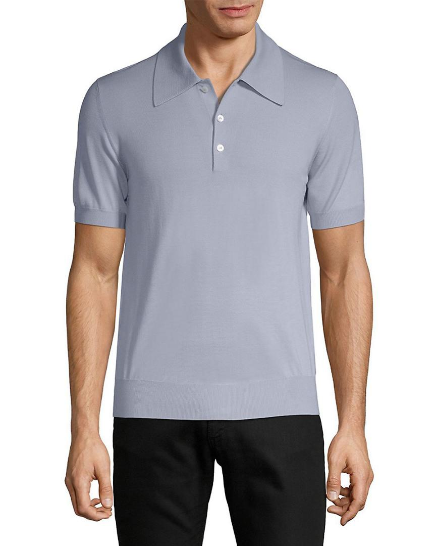 24b6f9aad Brioni Wool Ribbed Edge Polo in Blue for Men - Save 43% - Lyst