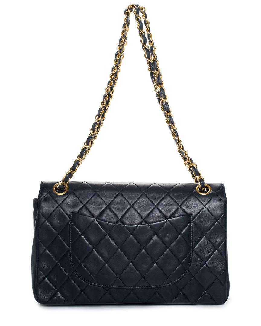Lyst - Chanel Navy Quilted Lambskin Leather Medium Classic Double Flap Bag  in Blue ec74127d6d8ce