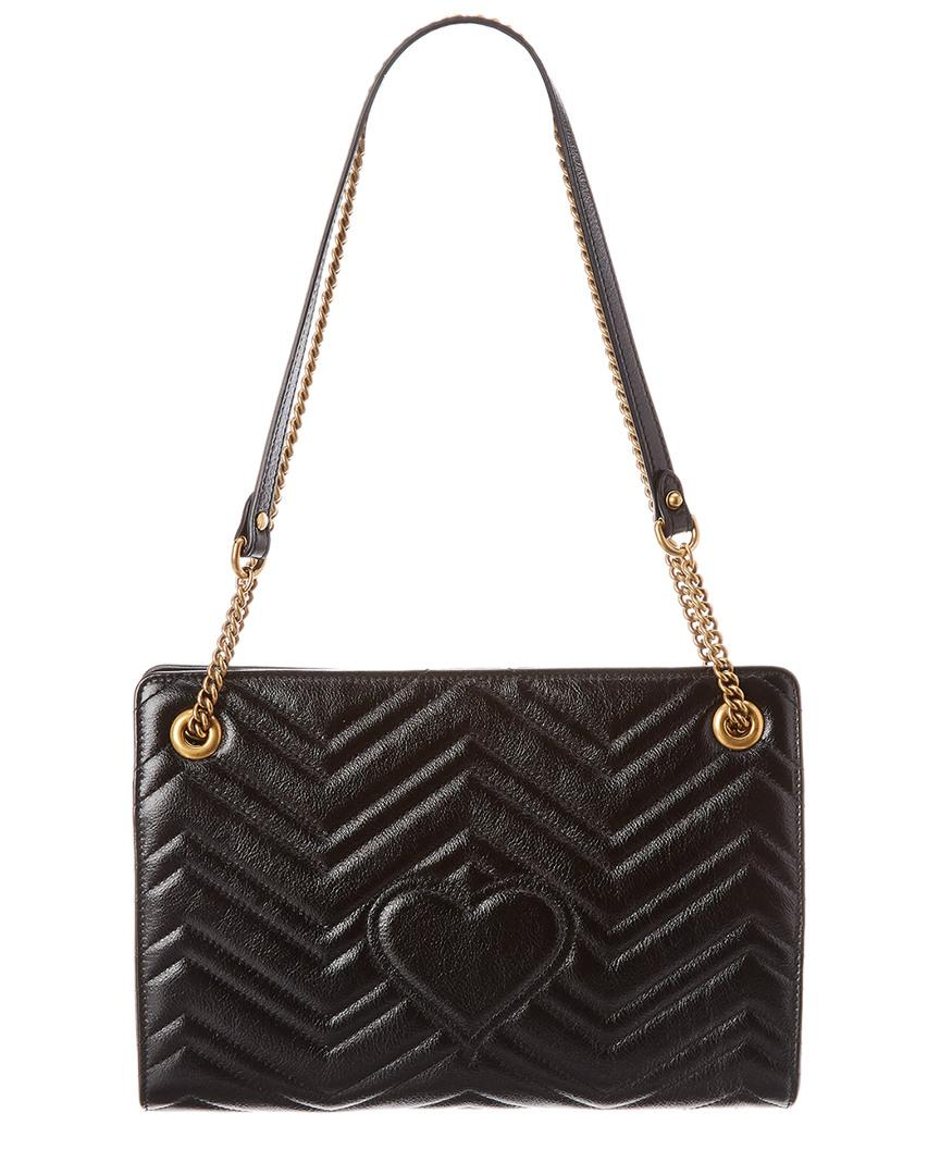 104180428b6 Lyst - Gucci GG Marmont Matelasse Leather Medium Shoulder Bag in Black