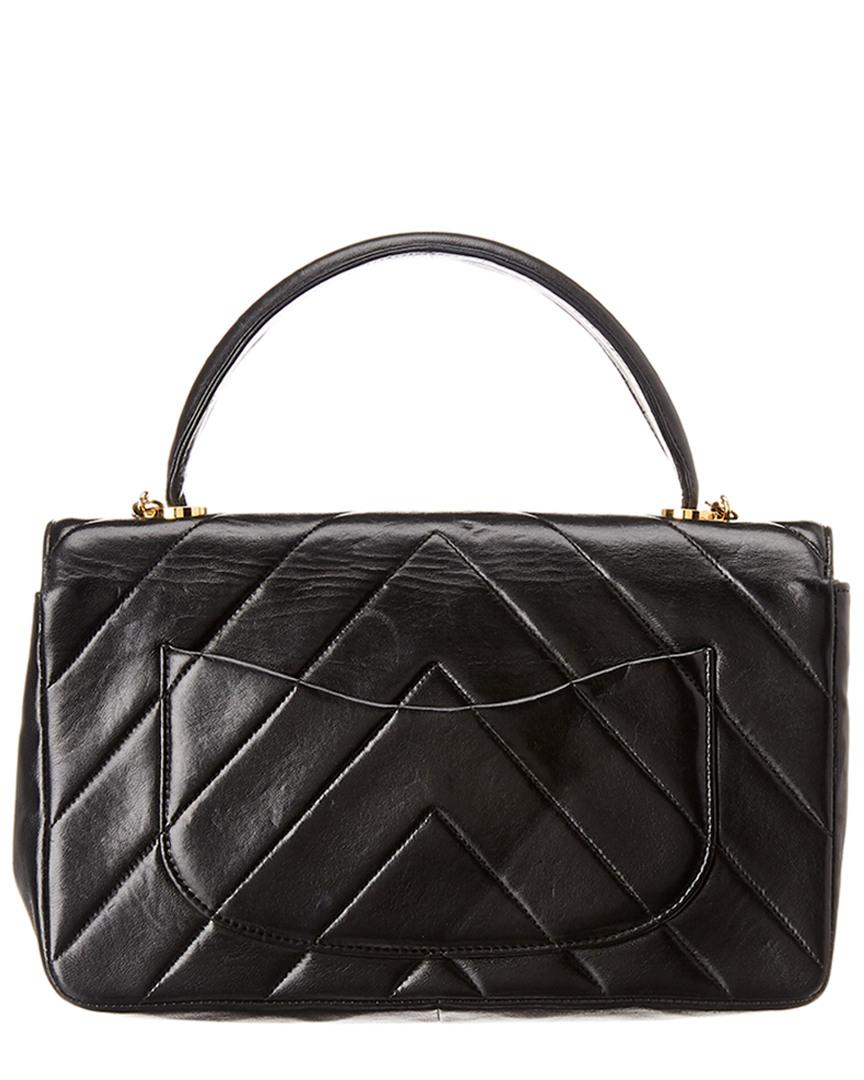 Lyst - Chanel Black Lambskin Leather Top Handle Flap Bag in Black a6ee6a6733835