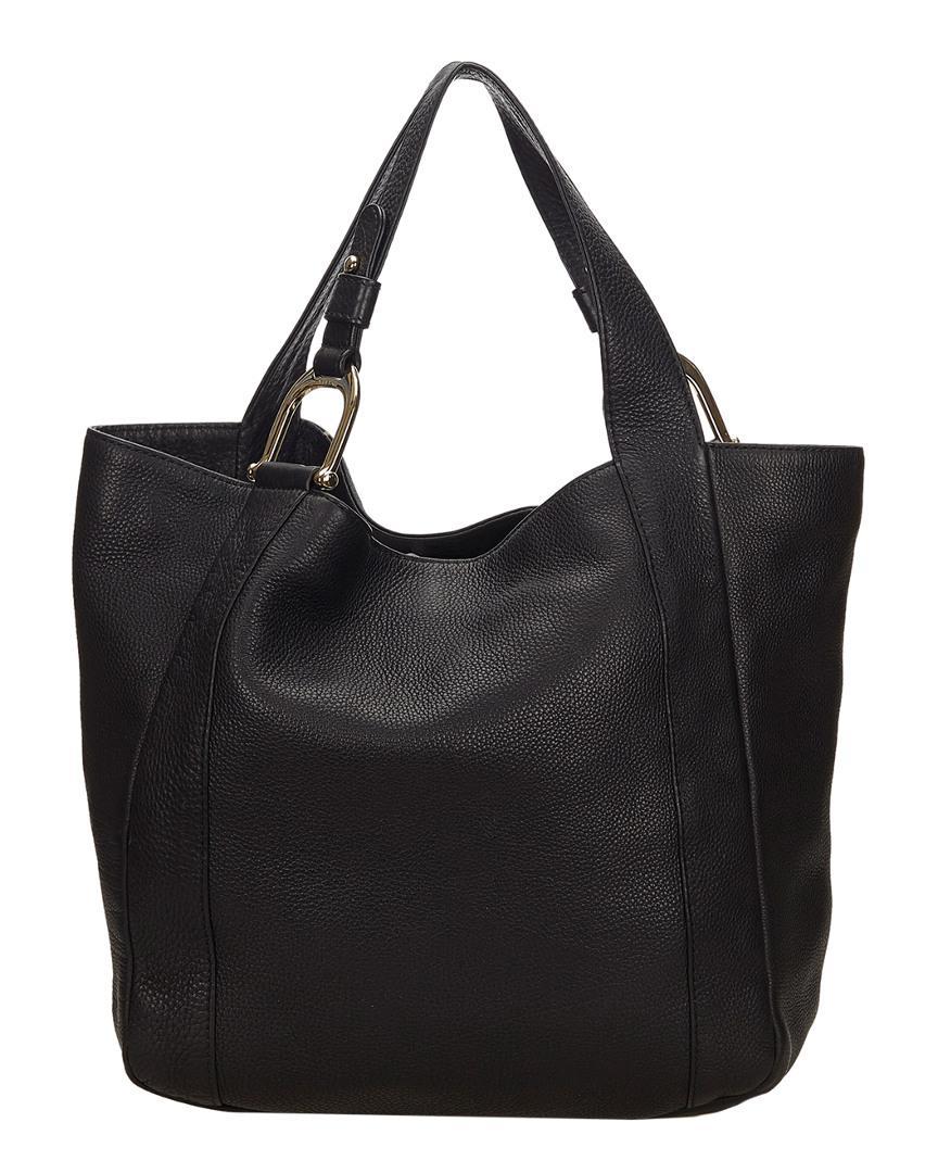 54f97dc6fb9606 Lyst - Gucci Black Leather Greenwich Tote in Black