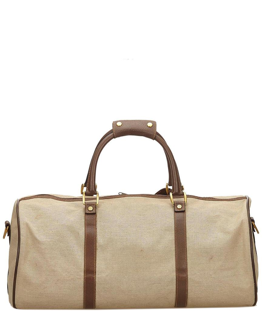 a326ff110f3 Lyst - Gucci Brown Canvas   Leather Duffel Bag in Brown for Men