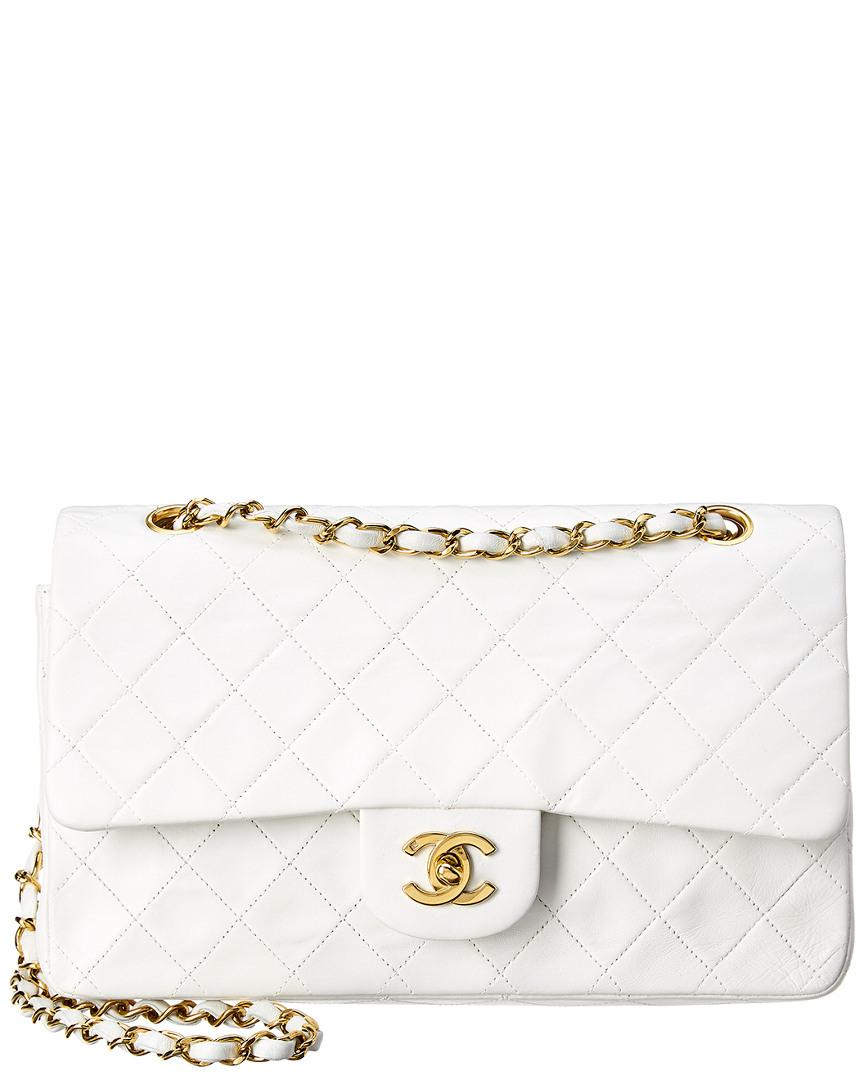 96d9fcc127ce0 Lyst - Chanel White Quilted Lambskin Leather Classic Medium Double ...