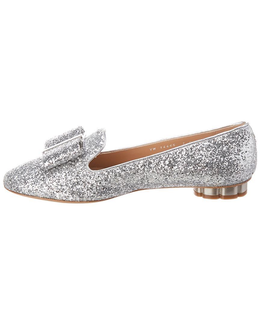 7fc615154e6b Lyst - Ferragamo Sciacca Flower Heel Glitter Slipper in Metallic ...