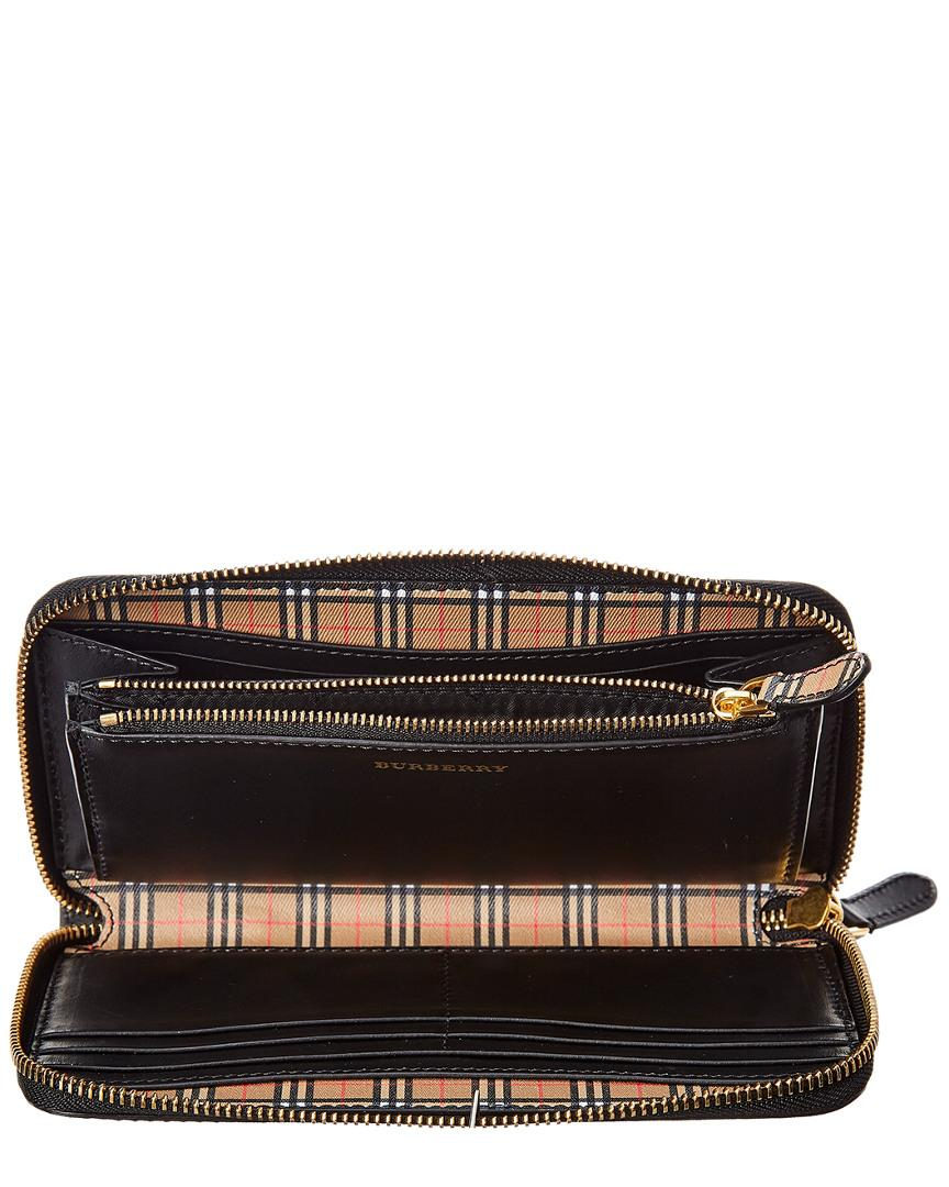 79ac3803f84c Burberry - Yellow Small Scale Check   Leather Zip Around Wallet - Lyst.  View fullscreen