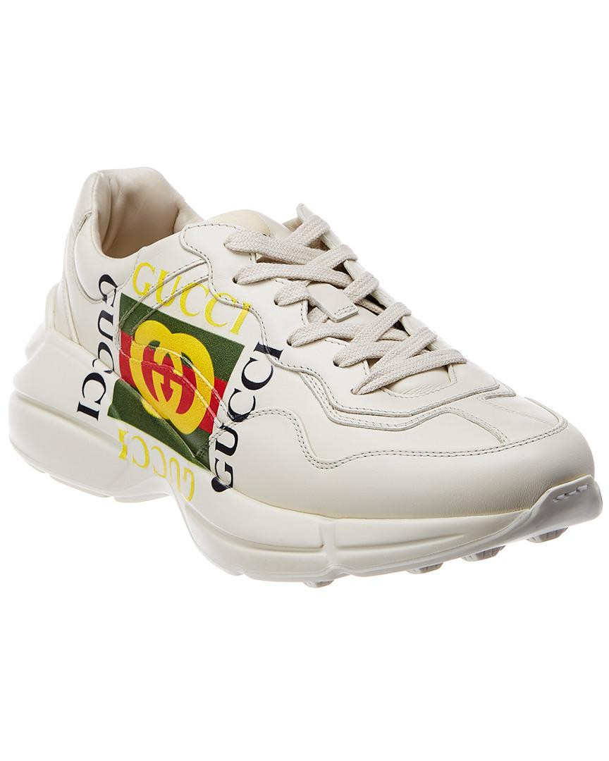 f0a30734f Gucci Rhyton Logo Leather Sneaker in White for Men - Save 8% - Lyst