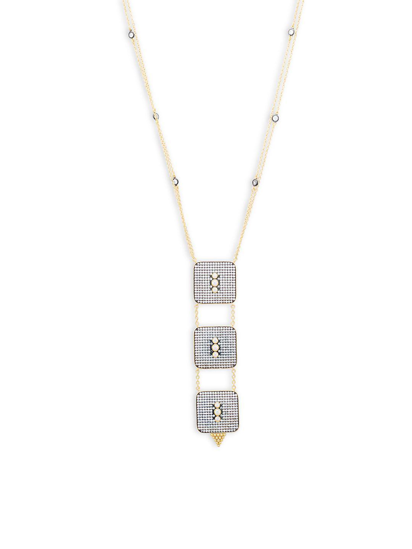 Lyst - Freida Rothman Contemporary Deco Square Pendant Necklace in ...