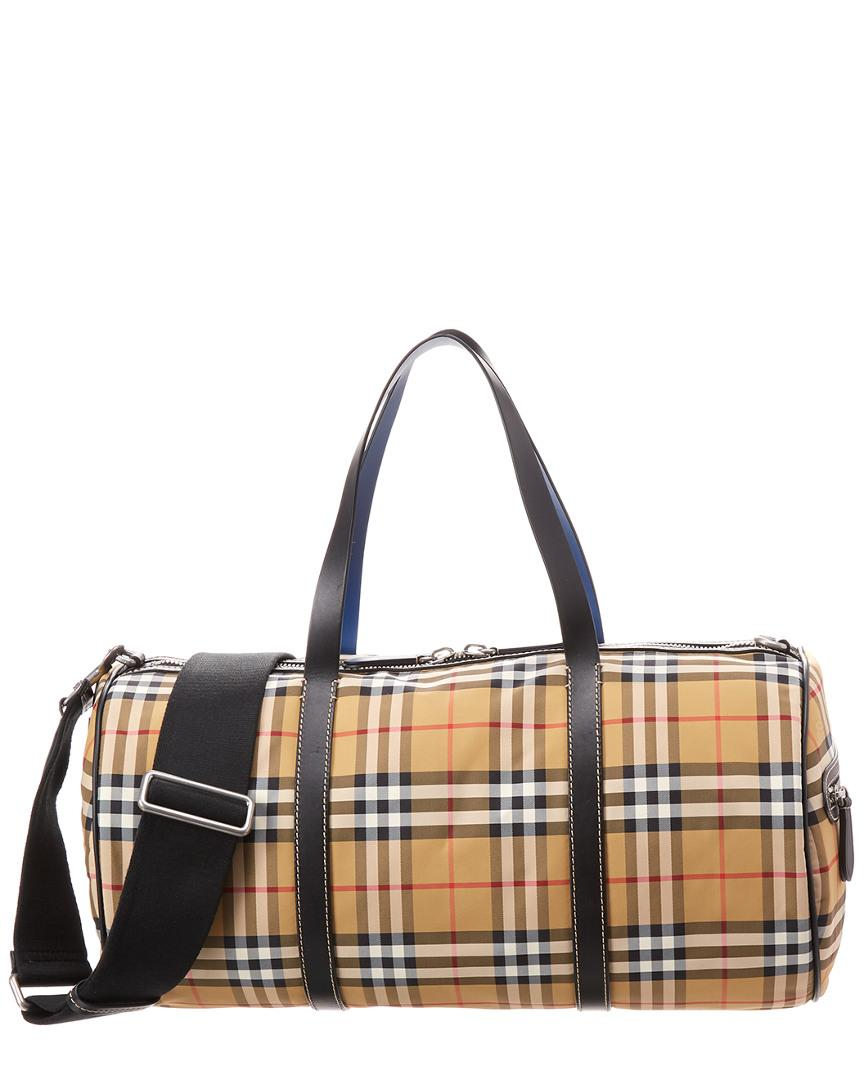 Burberry Medium Vintage Check And Leather Barrel Bag for Men - Save ... 5bff42333dc50