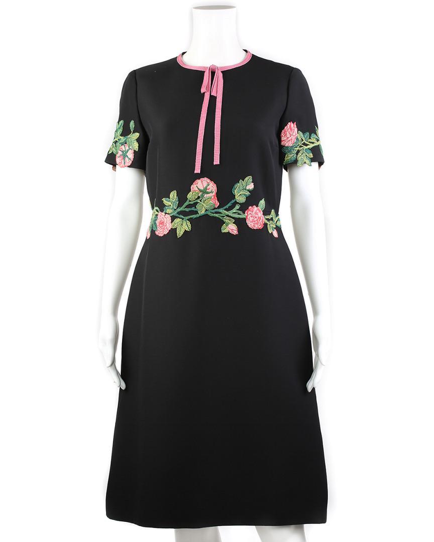 77f1c2a6cb1 Gucci Black Wool   Silk-blend A-line Dress