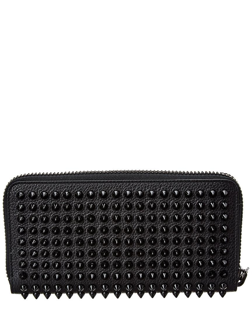 4cba6931a2d Christian Louboutin Zip Around Spike Stud Leather Wallet in Black ...