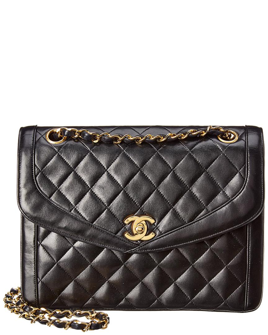 e9311b7d2a54 Lyst - Chanel Black Quilted Lambskin Leather Shoulder Bag in Black