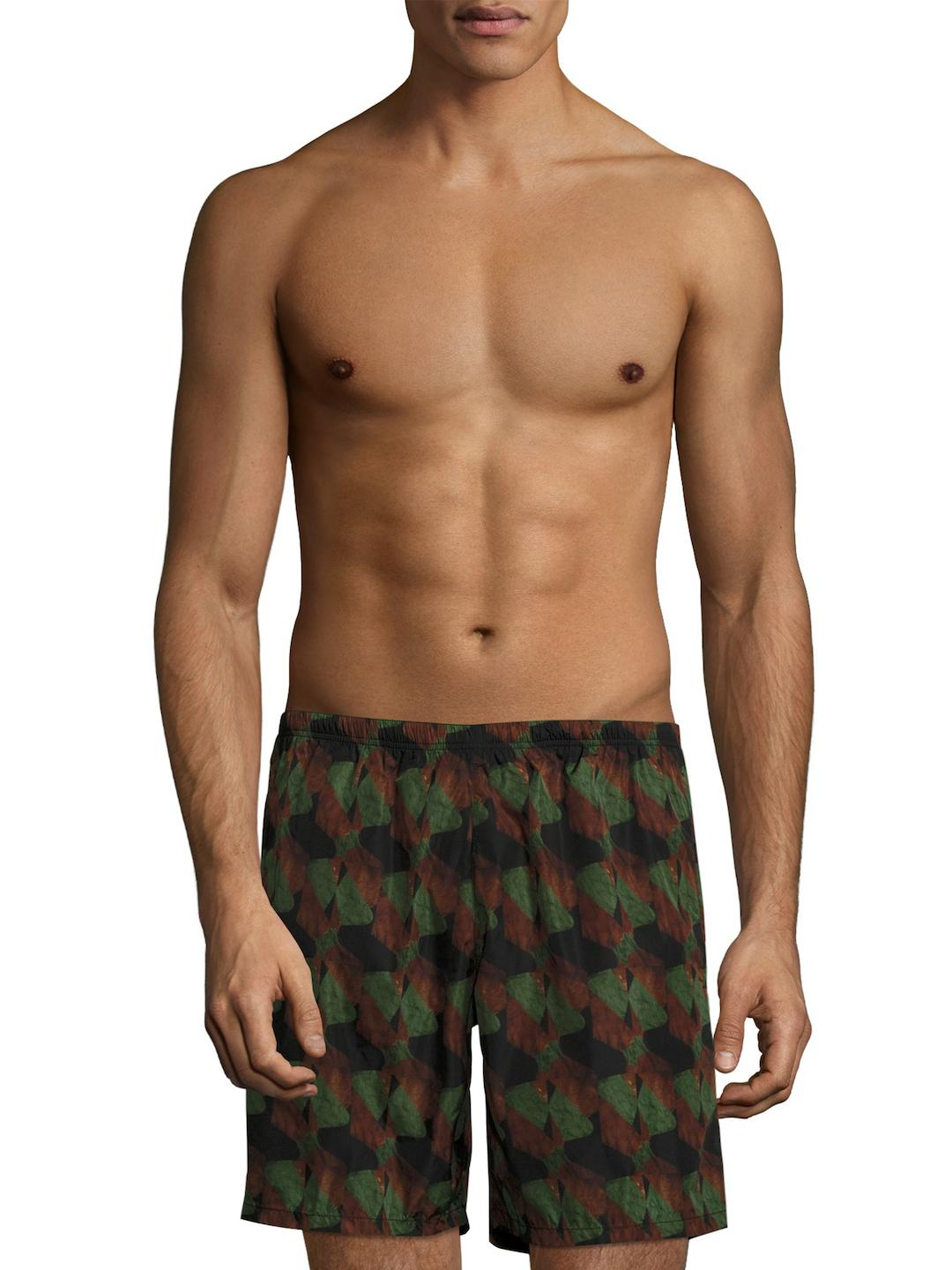 d30f9d7fa090e Prada Printed Swim Trunks in Green for Men - Lyst