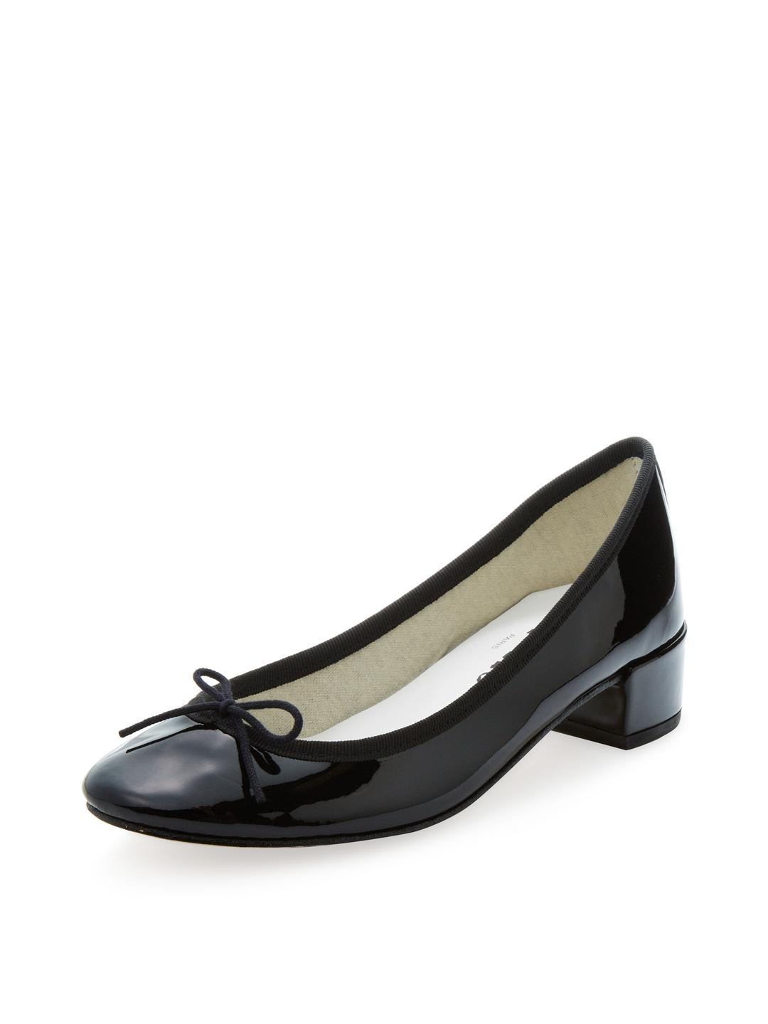 Camille Patent Mid-Height Ballerinas in Black Leather Repetto VxfYJOy