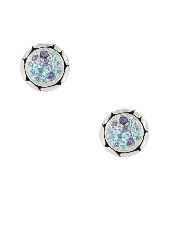 John Hardy Kali Silver Lava Drop Earrings w/ Swiss Blue Topaz & Iolite yDcPZyEV