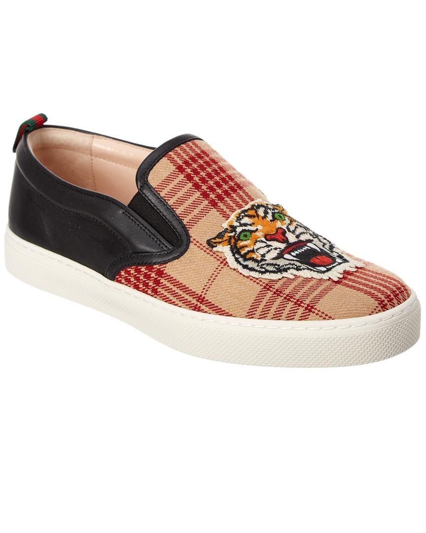 208dfa462 Gucci - Black Tiger Applique Wool & Leather Slip On Sneaker for Men - Lyst.  View fullscreen