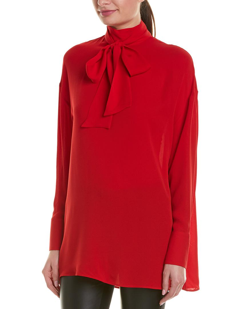 0b43b4d98ea506 Lyst - Valentino Mock Neck Silk Blouse in Red