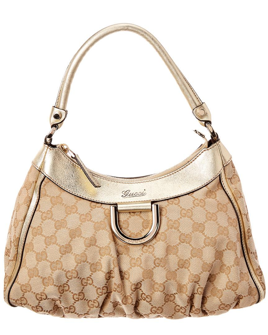 30e3d64e002444 Gucci - Multicolor Gold GG Canvas & Leather D-ring Hobo Bag - Lyst. View  fullscreen