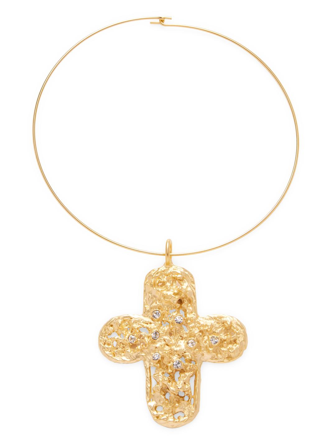 Lyst - Kenneth Jay Lane Satin Gold Cross With Crystals On Gold ...