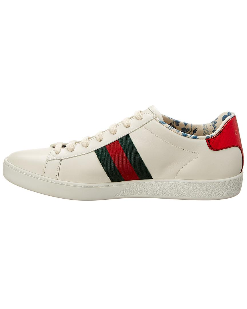 15cdd70d6 Gucci Ace Guccy Leather Sneaker in White - Lyst