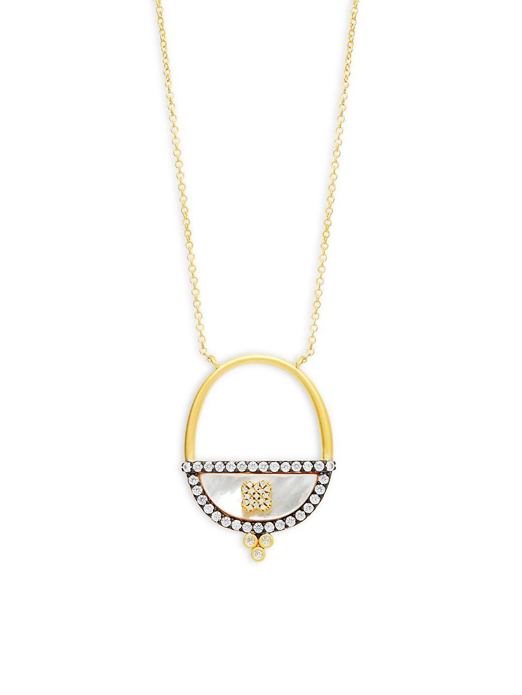 Freida Rothman Iridescent Marquise Double-Strand Pendant Necklace aajx5Z8ZU