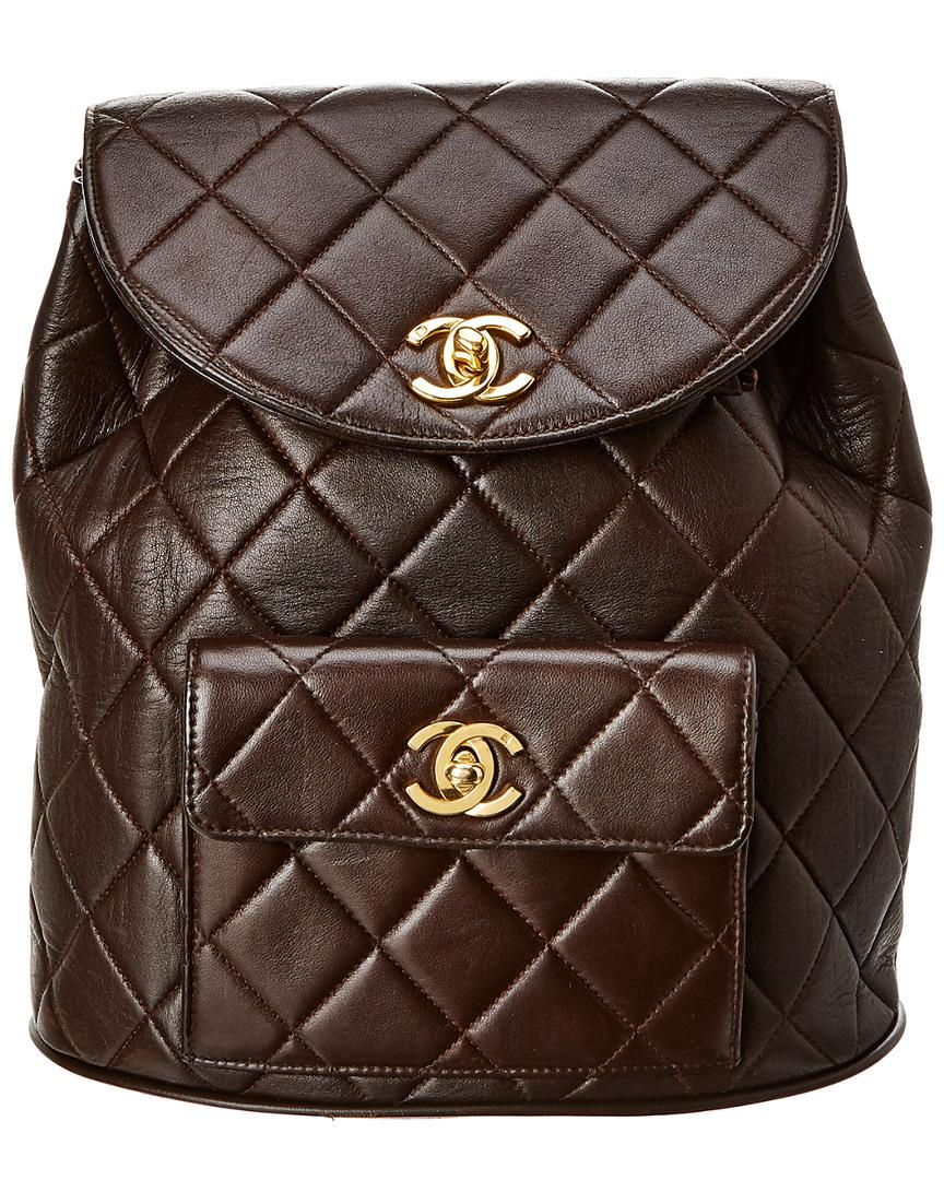 e2120ee939f3bd Chanel Brown Quilted Lambskin Leather Classic Backpack in Brown - Lyst