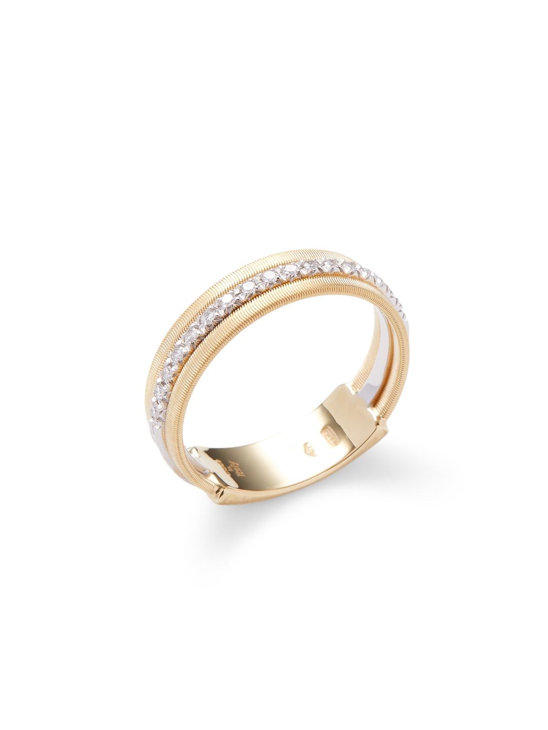 Marco Bicego Masai 18K Gold Stacked Ring with Diamond Stations, Size 7