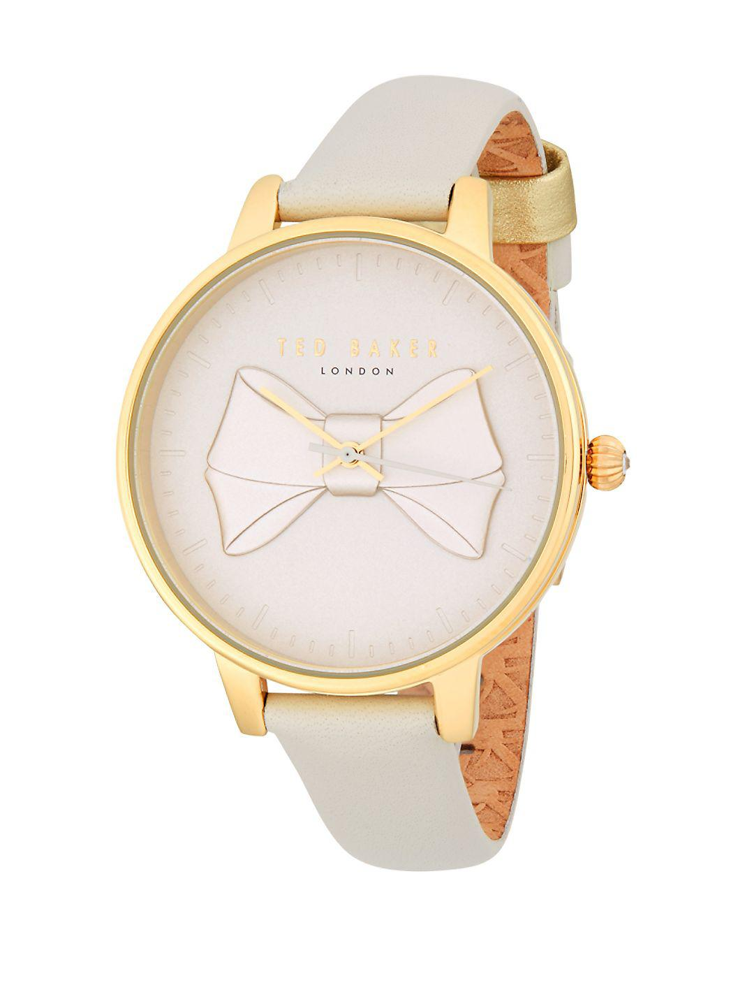 7129aaa4e970c Lyst - Ted Baker Bow Leather-strap Watch in Metallic