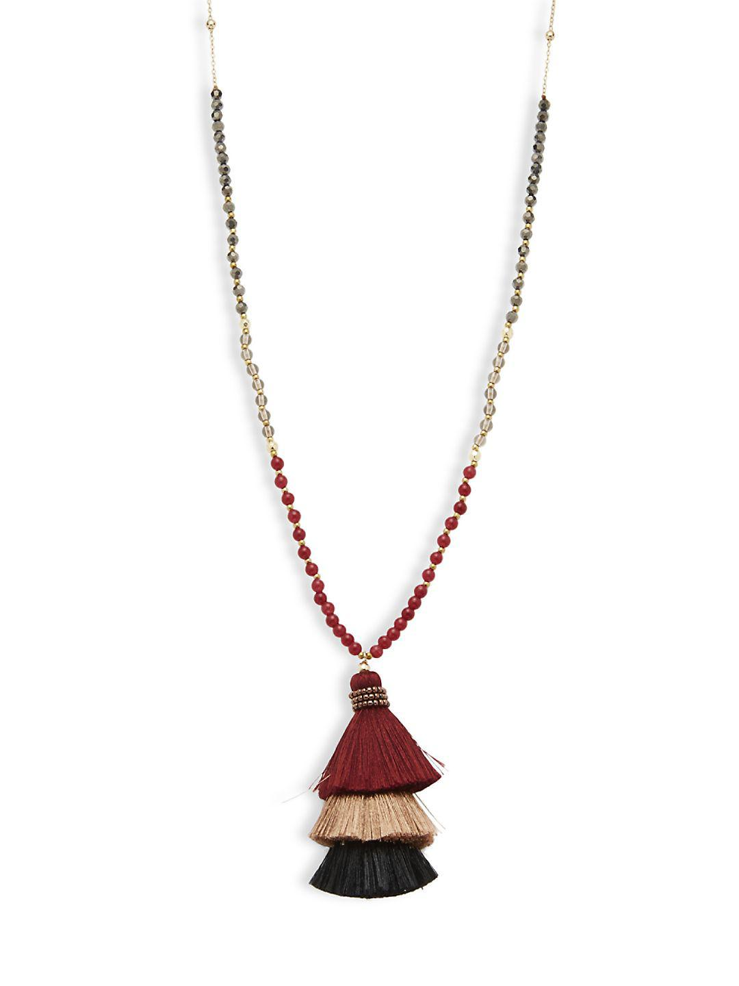 Panacea Peach Stone Beaded Necklace w/ Ivory Tassel zwcVH