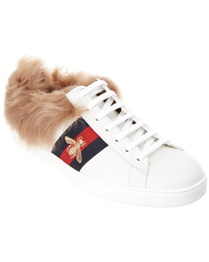 f370e1ab68d Lyst - Gucci Ace Wool   Leather Sneaker in White