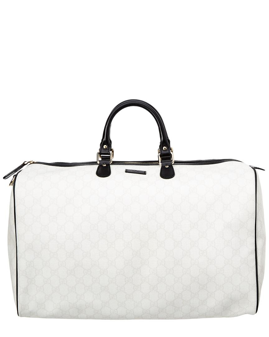 ae1915a11164 Gucci Limited Edition White Gg Supreme Canvas   Leather Joy Duffle ...