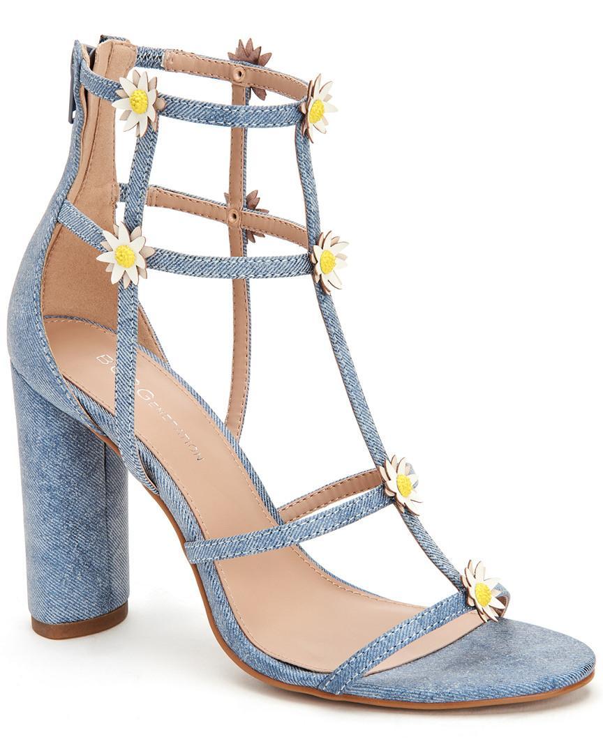 624e158b8bd Lyst - BCBGeneration Jordan Denim   Floral Caged Dress Sandals in ...