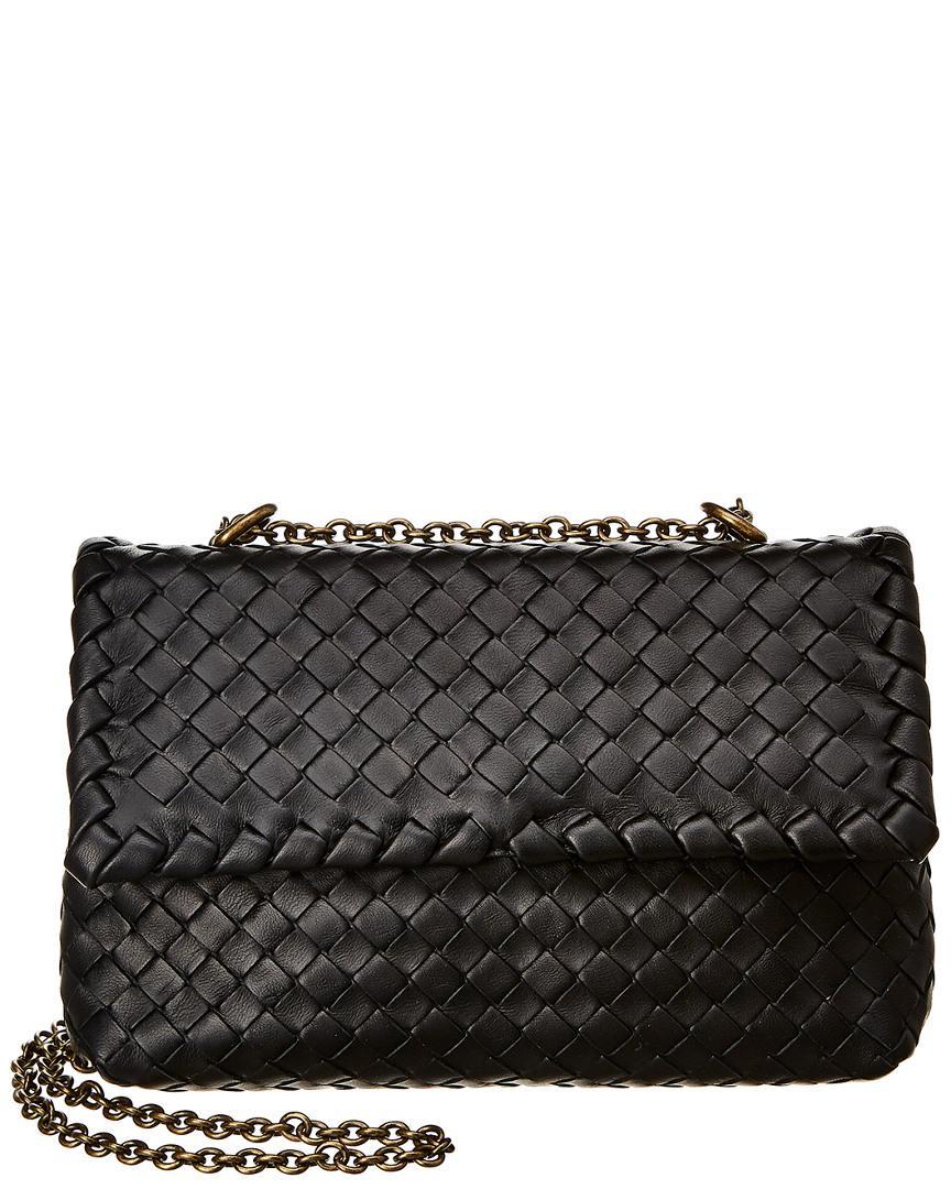 Bottega Veneta. Women s Black Baby Olimpia Intrecciato Leather Shoulder Bag 969b75153bb66