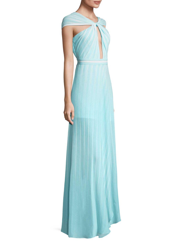 Lyst - Halston Heritage Sl Cross Neck Printed Chiffon Dress in Blue
