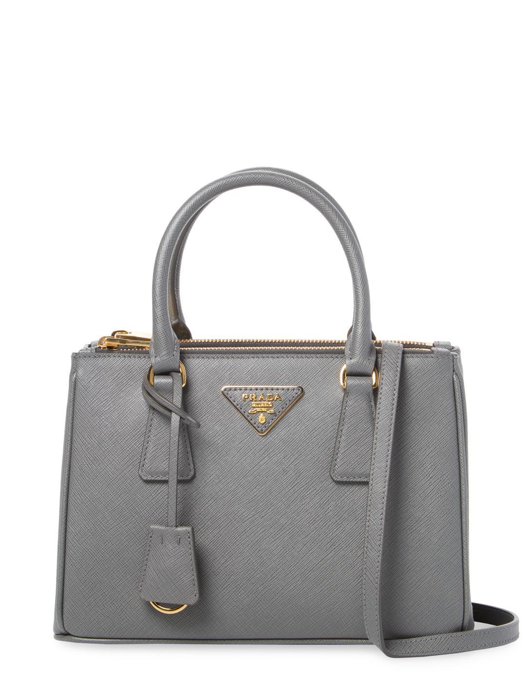 1065ea3fb54e76 Prada Galleria Double Zip Small Saffiano Leather Tote in Gray - Lyst