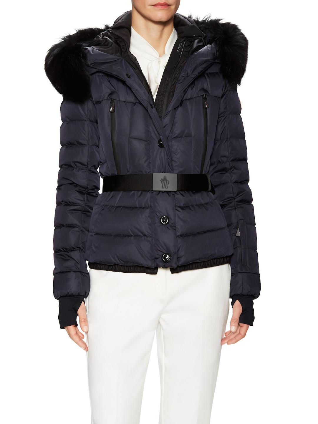 54d60718d Lyst - Moncler Beverley Fox Fur-trimmed Belted Jacket in Blue