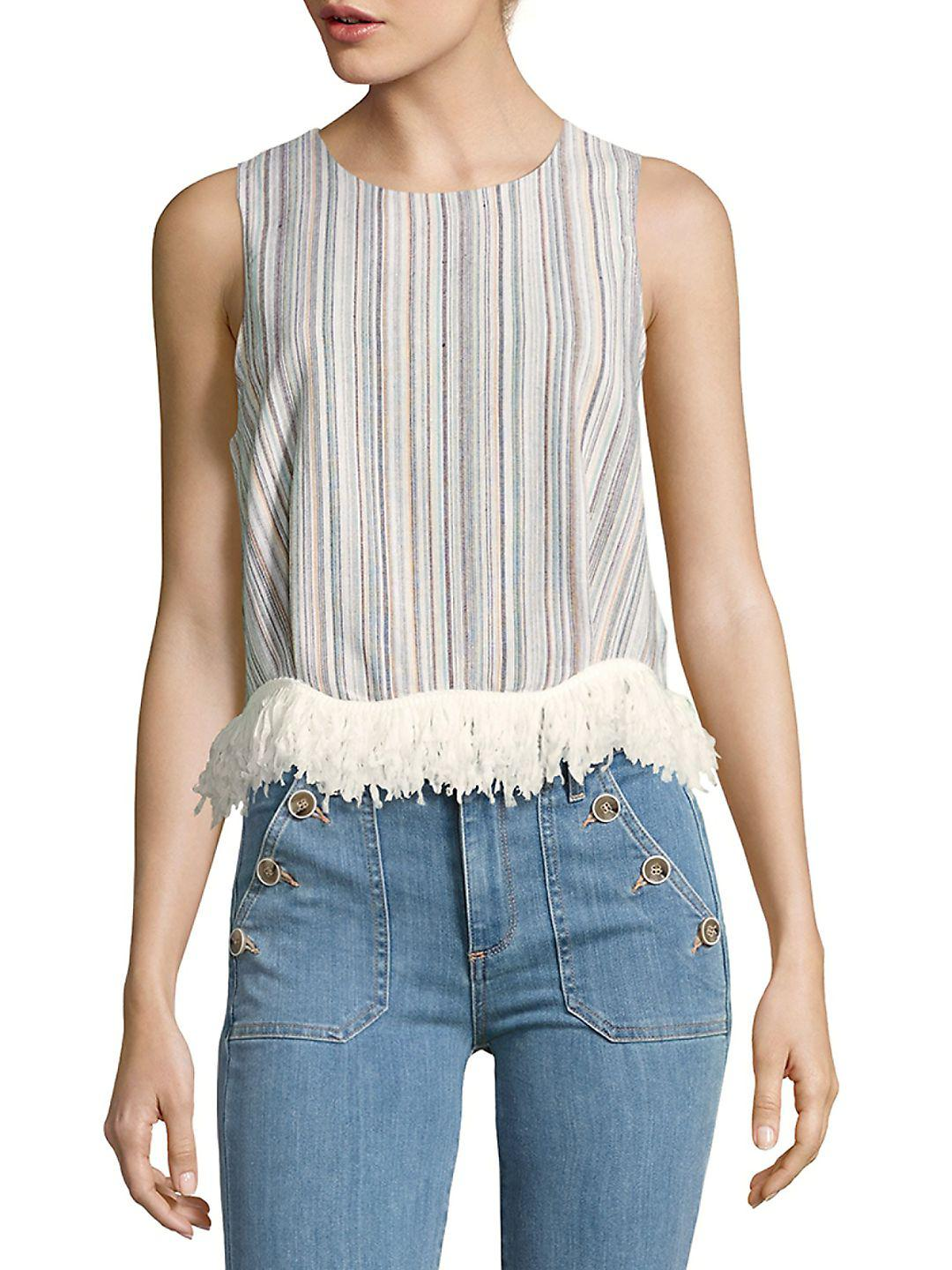 eeaf24cfdb7ba Lyst - Lucca Couture Fringe Shell Top in Blue
