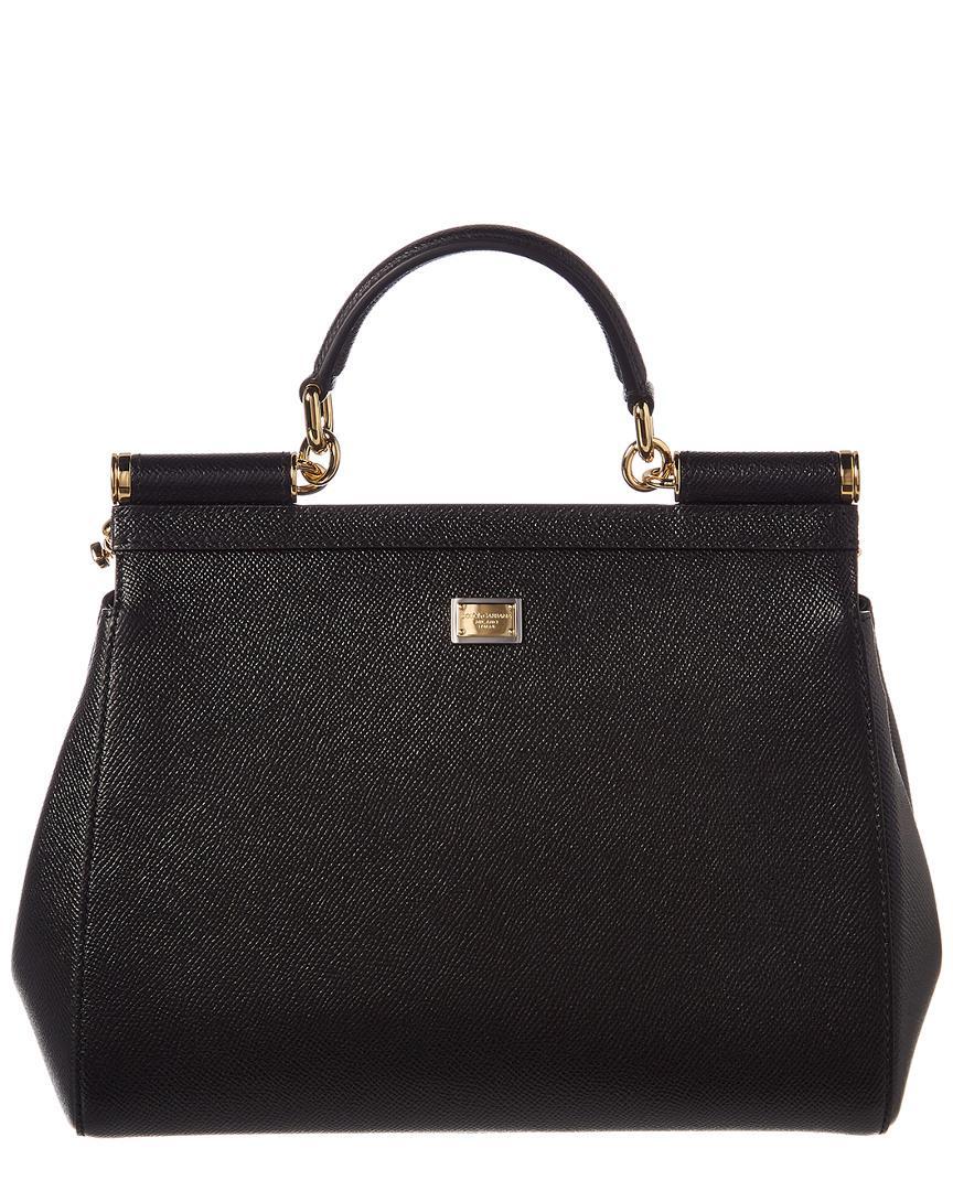 Dolce   Gabbana Family Patch Sicily Leather Shoulder Bag in Black - Lyst 604b748976da7